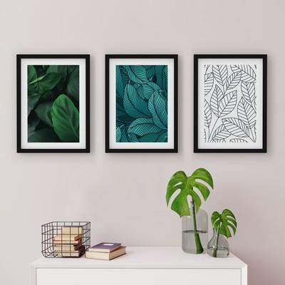 3 Çerçeveli Tablo Seti - Doğa Desenleri