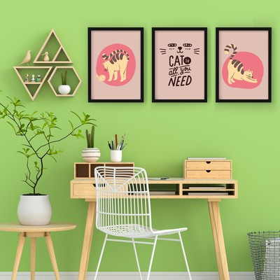 3 Çerçeveli Tablo Seti - Tüm İhtiyacınız Kediler