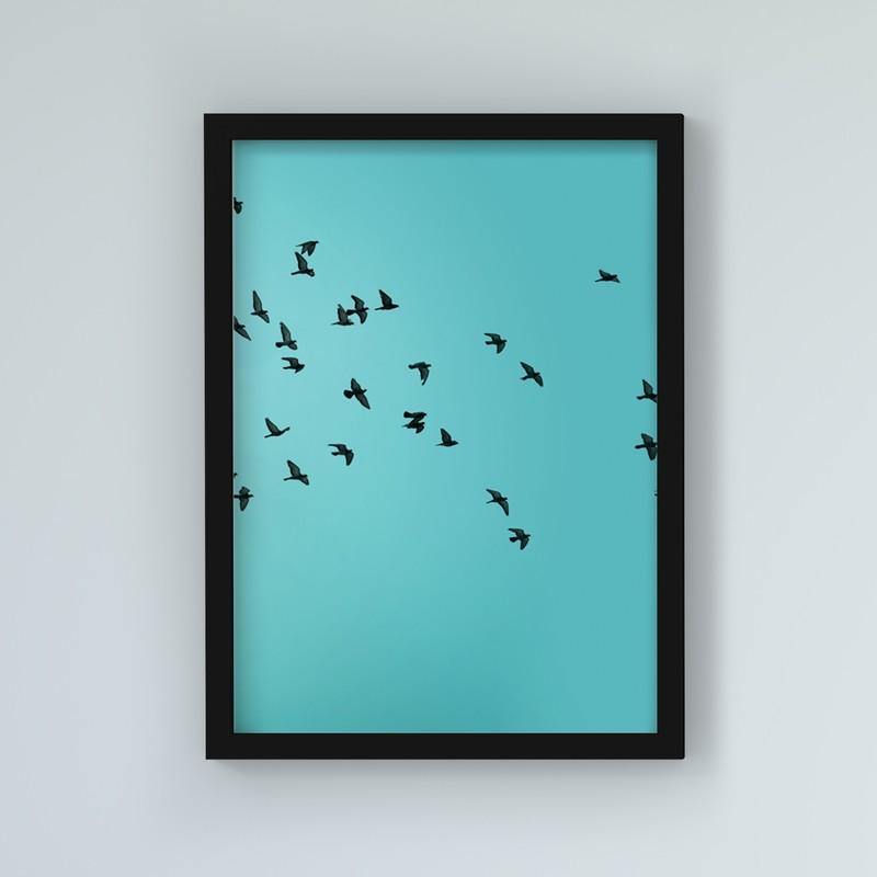 3 Çerçeveli Tablo Seti - Mutluluk Çiçeği ve Kuşlar