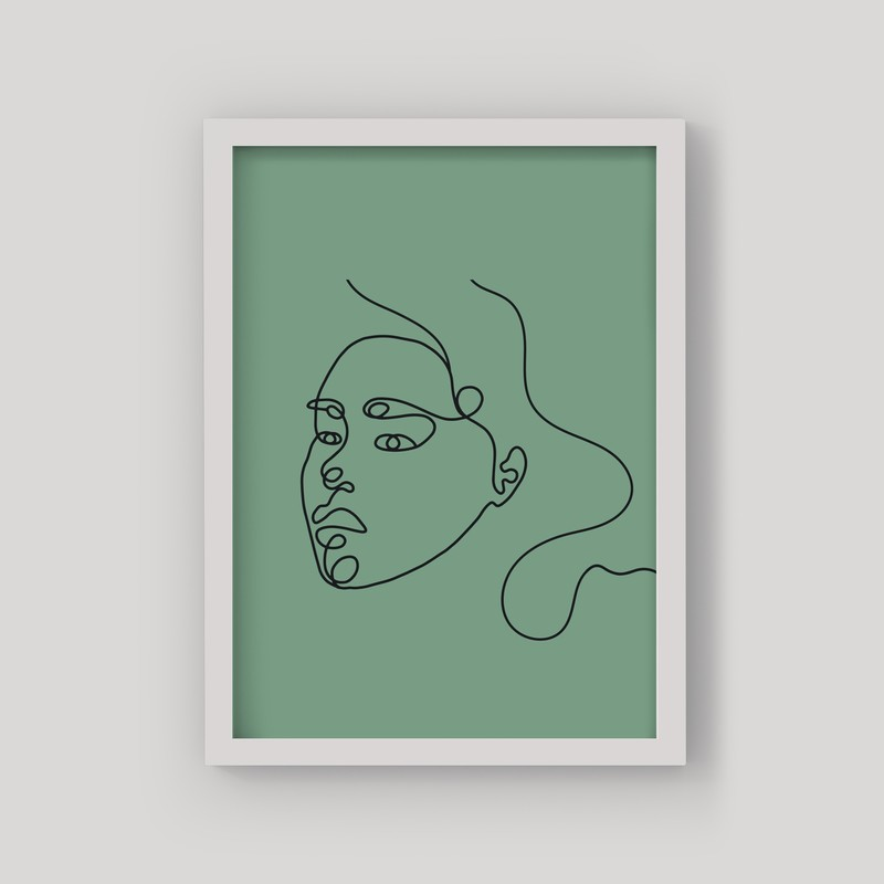 3 Çerçeveli Tablo Seti - Soyut Portre Çizimleri