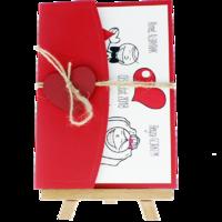 13x18 Kartpostal - Açık Davetiye Zarfı - 13x18-Kraft- Kırmızı Kalpli