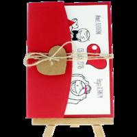 13x18 Kartpostal - Açık Davetiye Zarfı - 13x18-Kırmızı- İpli, Kraft Kalpli