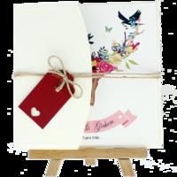 13x18 Kartpostal - Açık Davetiye Zarfı - 13x18-Krem-  İpli, Kırmızı Etiketli