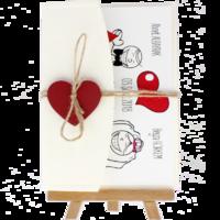 13x18 Kartpostal - Açık Davetiye Zarfı - 13x18-Krem- Kırmızı Kalpli