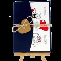 13x18 Kartpostal - Açık Davetiye Zarfı - 13x18-Lacivert-  İpli, Kraft Kalpli