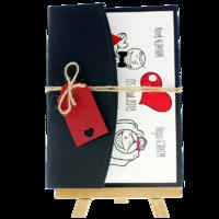 13x18 Kartpostal - Açık Davetiye Zarfı - 13x18-Siyah - İpli, Kırmızı Etiketli