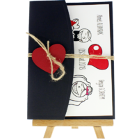 13x18 Kartpostal - Açık Davetiye Zarfı - 13x18-Siyah- Kırmızı Kalpli