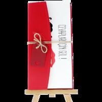 dikdörtgen - Açık Davetiye Zarfı - 21x10-Kırmızı- İpli, Kırmızı Etiketli
