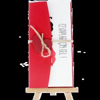 dikdörtgen - Açık Davetiye Zarfı - 21x10-Kırmızı- Kırmızı Kalpli