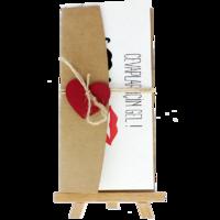dikdörtgen - Açık Davetiye Zarfı - 21x10-Kraft- Kırmızı Kalpli