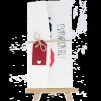 dikdörtgen - Açık Davetiye Zarfı - 21x10-Krem-  İpli, Kırmızı Etiketli