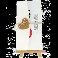 dikdörtgen - Açık Davetiye Zarfı - 21x10-Krem-  İpli, Kraft Kalpli