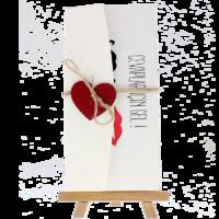 dikdörtgen - Açık Davetiye Zarfı - 21x10-Krem- Kırmızı Kalpli