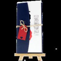 dikdörtgen - Açık Davetiye Zarfı - 21x10-Lacivert-  İpli, Kırmızı Etiketli