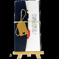 dikdörtgen - Açık Davetiye Zarfı - 21x10-Lacivert-  İpli, Kraft Etiketli