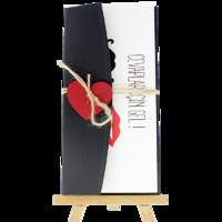 dikdörtgen - Açık Davetiye Zarfı - 21x10-Siyah- Kırmızı Kalpli