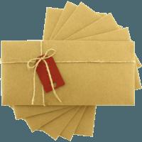 dikdörtgen - Kırmızı Etiketli & İpli Kraft