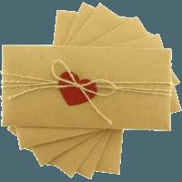 dikdörtgen - Kırmızı Kalpli & İpli Kraft