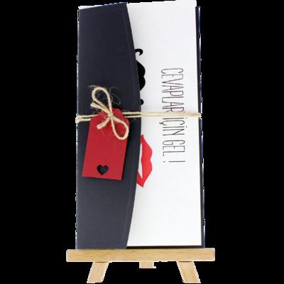 Açık Davetiye Zarfı - 21x10-Siyah - İpli, Kırmızı Etiketli