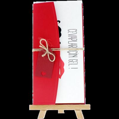 Açık Davetiye Zarfı - 21x10-Kırmızı- İpli, Kırmızı Etiketli