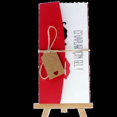 Açık Davetiye Zarfı - 21x10-Kırmızı- İpli, Kraft Etiketli