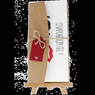 Açık Davetiye Zarfı - 21x10-Kraft - İpli, Kırmızı Etiketli