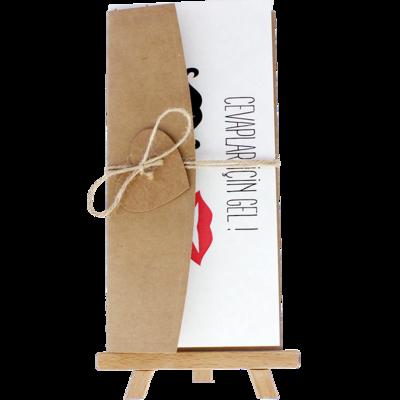 Açık Davetiye Zarfı - 21x10-Kraft - İpli, Kraft Kalpli
