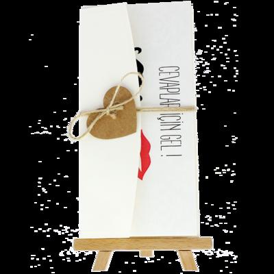 Açık Davetiye Zarfı - 21x10-Krem- İpli, Kraft Kalpli
