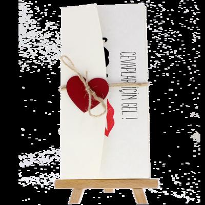 Açık Davetiye Zarfı - 21x10-Krem- Kırmızı Kalpli