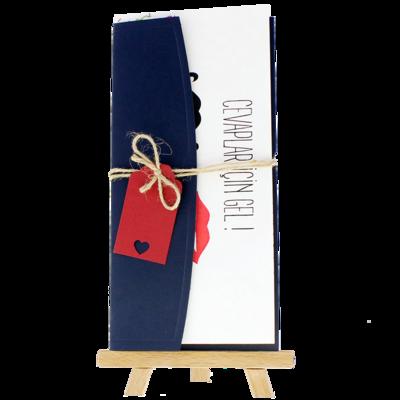 Açık Davetiye Zarfı - 21x10-Lacivert- İpli, Kırmızı Etiketli