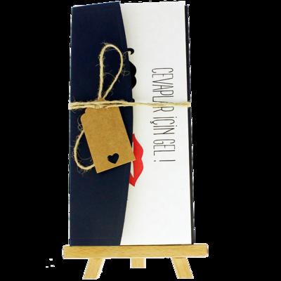 Açık Davetiye Zarfı - 21x10-Lacivert- İpli, Kraft Etiketli