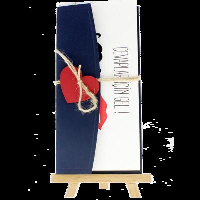 Açık Davetiye Zarfı - 21x10-Lacivert- Kırmızı Kalpli