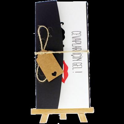 Açık Davetiye Zarfı - 21x10-Siyah - İpli, Kraft Etiketli