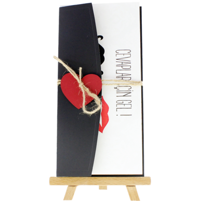 Açık Davetiye Zarfı - 21x10-Siyah- Kırmızı Kalpli